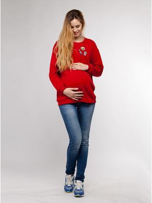 Свитшот для беременных и кормящих Beebeep. Цвет: красный
