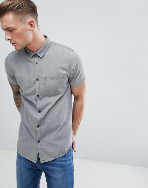 New Look Серая джинсовая рубашка. Цвет: серый