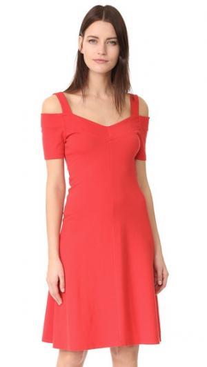 Платье с открытыми плечами Three Dots. Цвет: красный гибискус