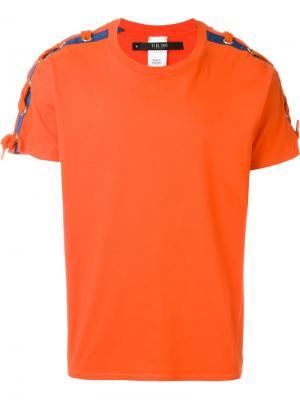 Футболка со шнуровкой на рукавах Sibling. Цвет: жёлтый и оранжевый
