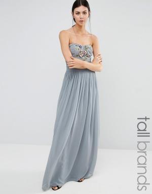 Maya Tall Длинное платье-бандо с вышивкой. Цвет: серый