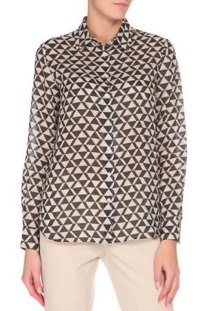 Полуприлегающая рубашка с застежкой на пуговицы Max Mara. Цвет: бежевый, коричневый, принт
