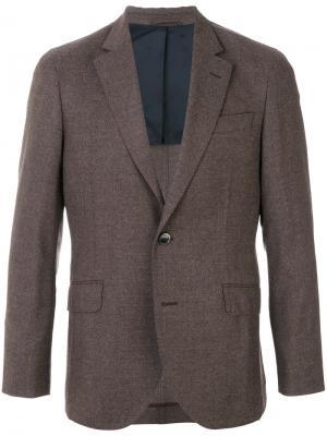 Классический однобортный пиджак Hackett. Цвет: коричневый