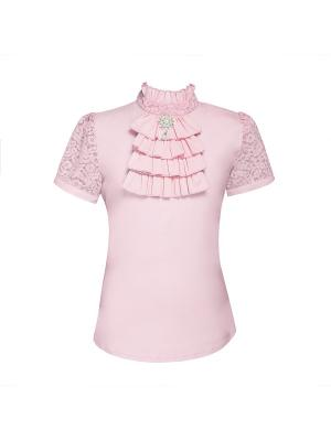 Блузка для девочки с коротким рукавом 7 одежек. Цвет: розовый