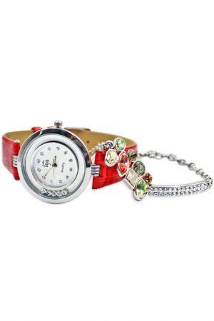 Набор: часы, браслет Taya. Цвет: серебристый, красный