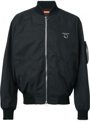 Куртка-бомбер с вышивкой Komakino. Цвет: чёрный