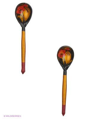 Набор деревянных ложек Сувенир Сувенирыч. Цвет: желтый, черный, темно-красный