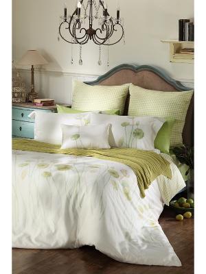 Комплект постельного белья 1,5 спальный Лилии ARTILIVI. Цвет: салатовый