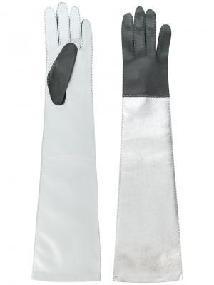 Удлиненные перчатки дизайна колор-блок Manokhi. Цвет: металлический