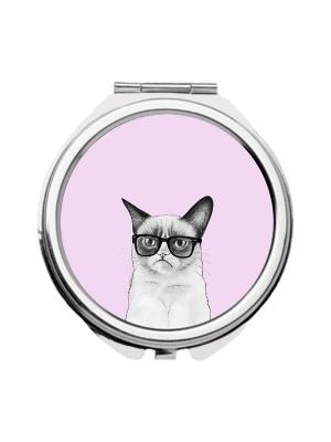 Зеркальце карманное Недовольный кот на розовом Chocopony. Цвет: розовый, белый, серый