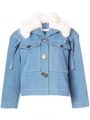 Джинсовая куртка с меховым воротником Rejina Pyo. Цвет: синий