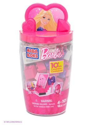 Набор Barbie в тубусе Туфельки MEGA BLOKS. Цвет: розовый, белый, фиолетовый