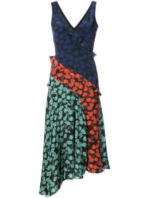 Асимметричное платье-миди с цветочным рисунком Saloni. Цвет: синий