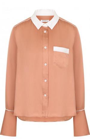 Шелковая блуза свободного кроя с контрастной отделкой Equipment. Цвет: розовый