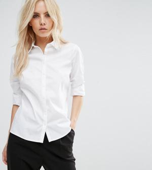 ASOS Petite Белая приталенная рубашка. Цвет: белый
