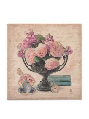 Подставка под горячее Цветы в вазе с 3 книгами  DAVANA. Цвет: светло-голубой, розовый