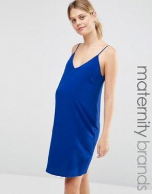New Look Maternity Платье-комбинация для беременных. Цвет: синий