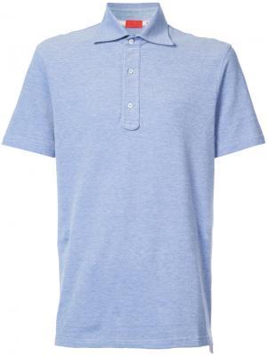 Рубашка-поло узкого кроя Isaia. Цвет: синий