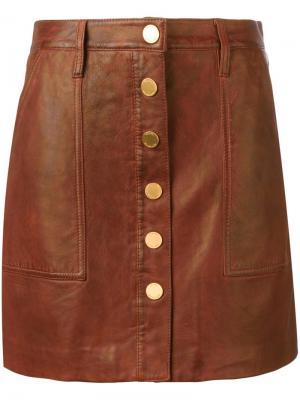 Кожаная юбка на кнопках Michael Kors. Цвет: коричневый