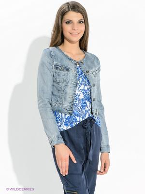 Куртка Oodji. Цвет: голубой