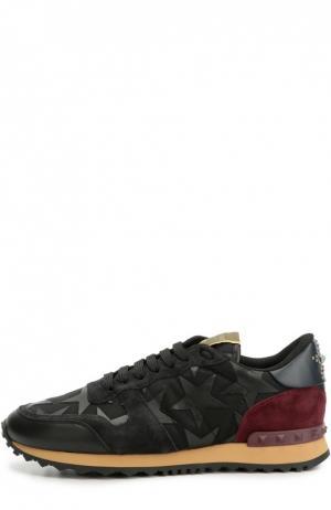 Комбинированные кроссовки Starstudded с аппликациями Valentino. Цвет: черный