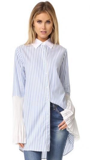 Платье-рубашка в полоску на пуговицах Clu. Цвет: голубая полоска