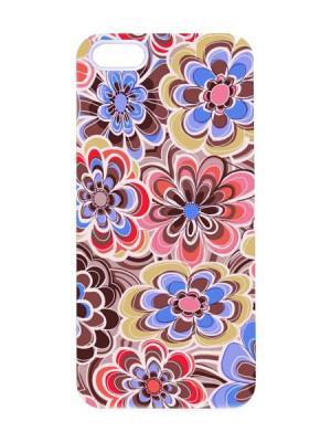 Чехол для iPhone 5/5s Цветочная абстракция Арт. IP5-035 Chocopony. Цвет: коричневый, белый