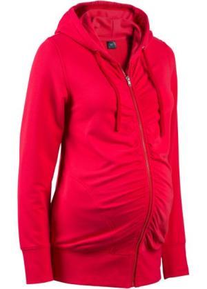 Мода для беременных: трикотажная куртка с драпировками и мягким ворсом внутренней стороны (черный) bonprix. Цвет: черный