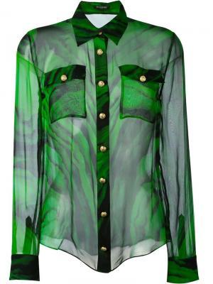 Рубашка с принтом Balmain. Цвет: зелёный