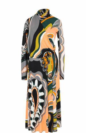 Приталенное платье-миди с воротником-стойкой Emilio Pucci. Цвет: разноцветный