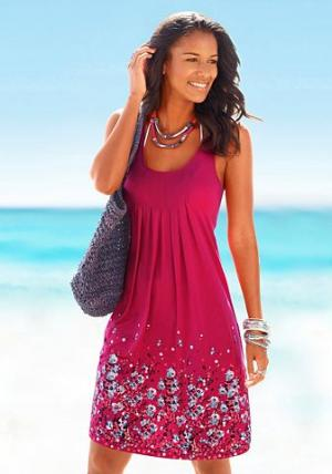 Платье для пляжа, Beachtime. Цвет: ягодный