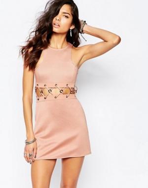 The Laden Showroom Платье мини со шнуровкой X Rok & Rebelle. Цвет: бежевый