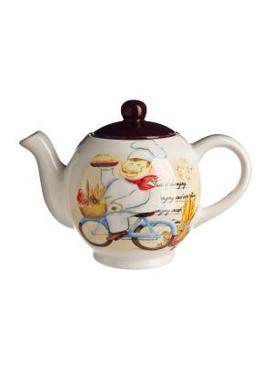 Чайник заварочный, 1000 мл в п/у. Elff Ceramics. Цвет: голубой, красный, белый