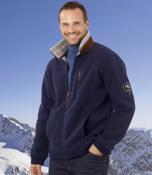 Куртка из Флиса с Подкладкой Шерпы AFM. Цвет: темно-синии