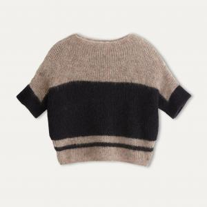 Пуловер покроя оверсайз POMANDERE. Цвет: бежевый/ черный