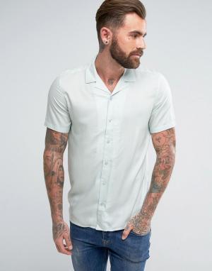ASOS Вискозная рубашка мятного цвета классического кроя с отложным воротник. Цвет: зеленый