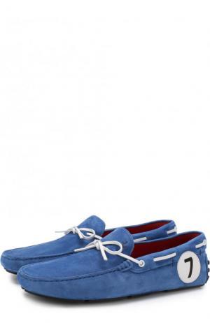 Замшевые мокасины с отделкой Tod's. Цвет: синий