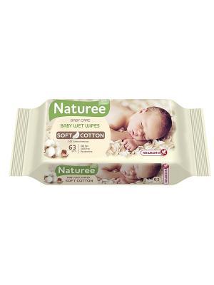 Влажные салфетки для детей NATUREE Soft Cotton 63шт SPA. Цвет: бежевый, розовый