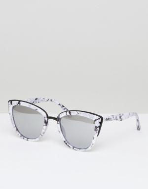 Quay Australia Солнцезащитные очки кошачий глаз в мраморной оправе My. Цвет: серебряный