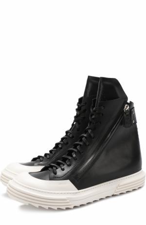 Высокие кожаные кеды на шнуровке Artselab. Цвет: черный