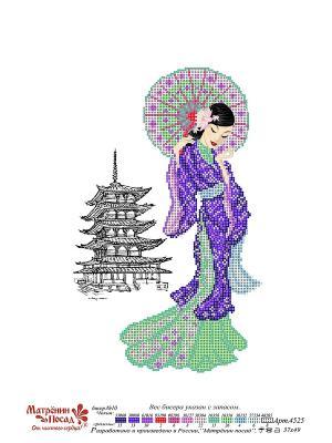 Схема вышивки Мисаки Матренин Посад. Цвет: синий, белый, зеленый