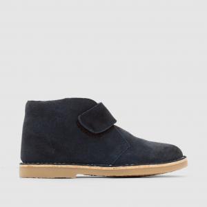 Ботинки кожаные с застежкой на планки-велкро La Redoute Collections. Цвет: темно-синий