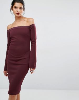 Bec & Bridge Платье с открытыми плечами Banditti. Цвет: красный