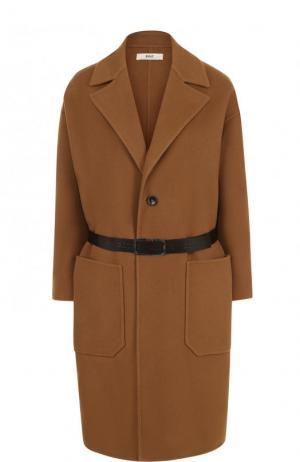 Шерстяное пальто с накладными карманами и поясом Bally. Цвет: коричневый