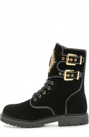 Текстильные ботинки с нашивкой и пряжками Balmain. Цвет: черный