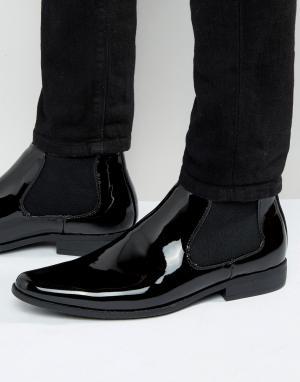 ASOS Черные лакированные ботинки челси. Цвет: черный