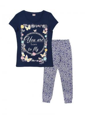 Комплект женский (футболка, брюки) Family Colors. Цвет: темно-синий