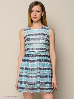 Платье TOPSANDTOPS. Цвет: бирюзовый, белый, синий