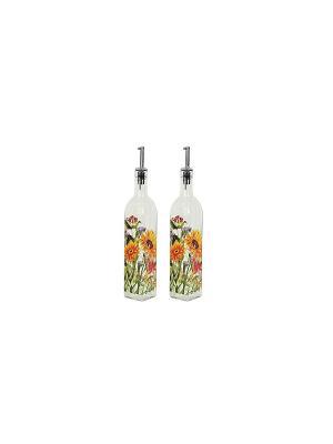 Набор для специй Подсолнухи (2 бутылки масла и уксуса по 500 мл) Elff Ceramics. Цвет: прозрачный, желтый, зеленый