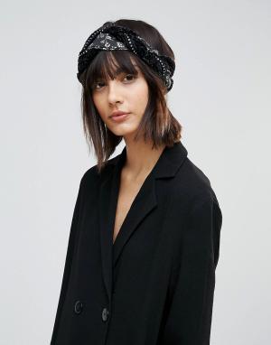 ASOS Повязка на голову с декоративной отделкой. Цвет: черный